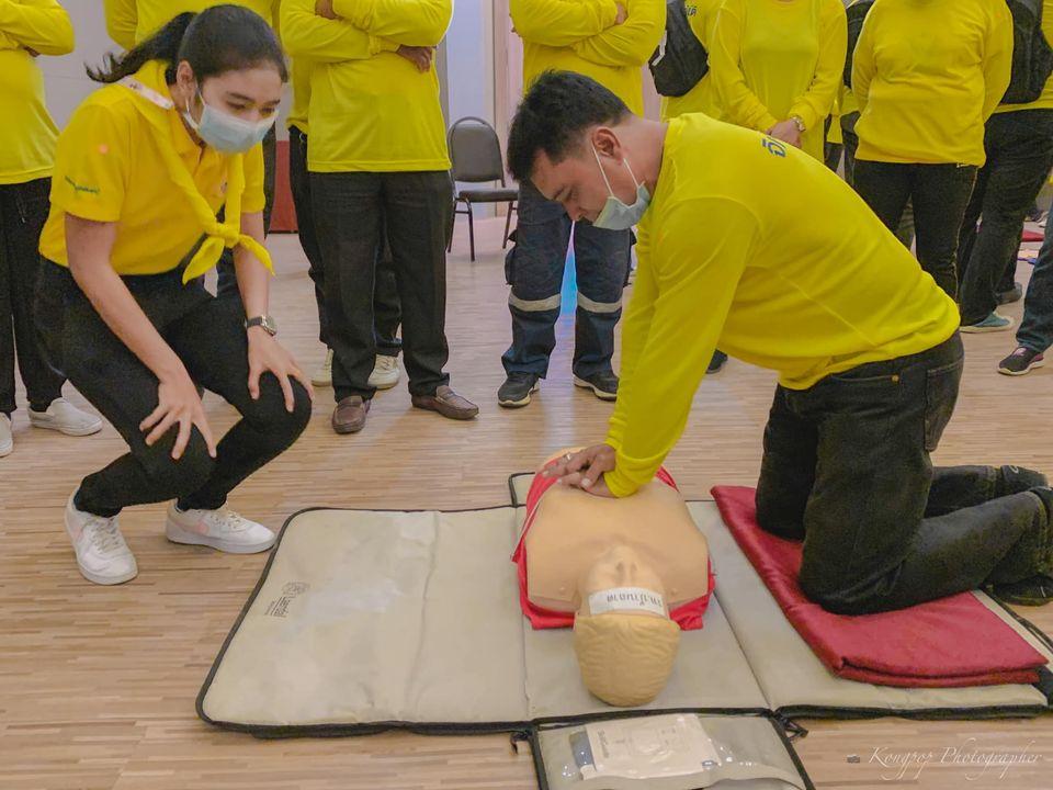 การฝึกปฏิบัติการทำCPRและการเคลื่อนย้ายผู้ประสบภัย